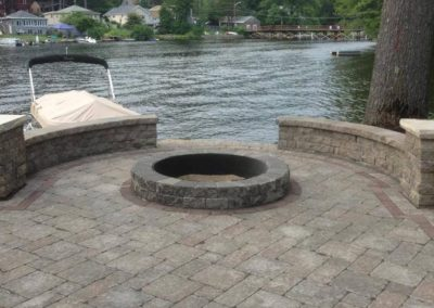 Stone Fire pit with Retaining Wall